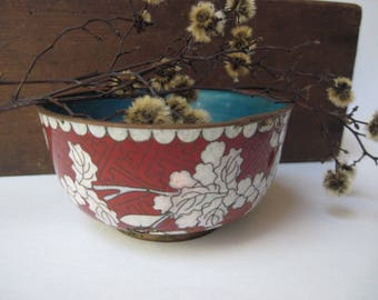 Vintage Chinese Floral Cloisonne Bowl