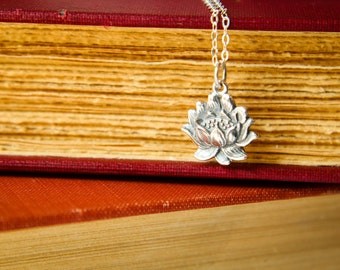 Blooming Lotus Flower Necklace in Sterling Silver