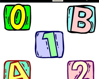 Letter Blocks and Numbers Clipart for Scrapbooking Card Making Cupcake Toppers Paper Crafts Birthday Party