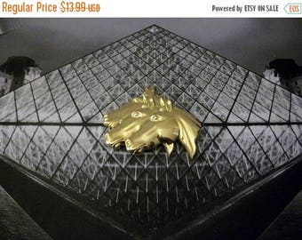 ON SALE Retro Large Bright Gold Tone Layered Horse Images Metal Pin 52016