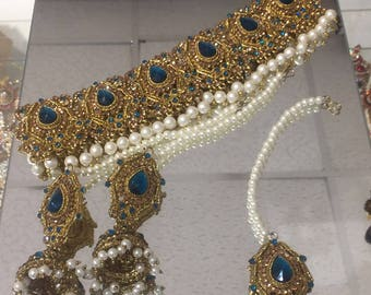 Classic sea green  indian bollywood pearl choker, with matching jhumka earrings and tikka