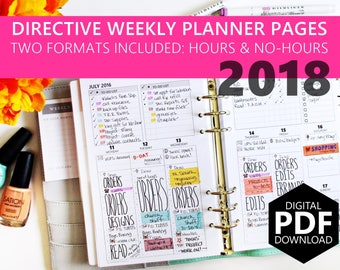 """PDF Download: 2018 Dated Directive Weekly Inserts - 5.5""""x8.5"""" Half-Letter size (fits into A5 Planners) WO2P"""