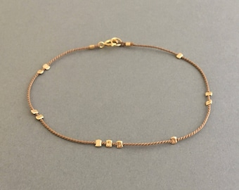 Gold Bead BEIGE Silk String Bracelet also in Sterling Silver and Rose Gold Fill