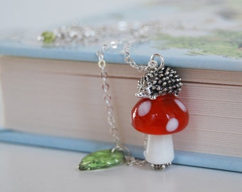 Hedgehog on a Mushroom Necklace | Cute Hedgehog Charm Necklace | Toadstool Forest Necklace | Silver Hedgehog Pendant