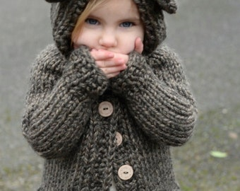 KNITTING PATTERN-The Bladyn Bear Sweater (2, 3/4, 5/6, 7/8, 9/10, 11/12, Small, Medium, Large)