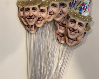 Photo cupcake toppers or drink stirrers with confetti hat. Any age can be made