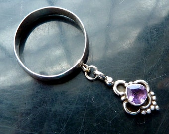 Amethyst tear drop ring in sterling silver victorian dangle faceted size 8 closeout sale destash OOAK jewelry
