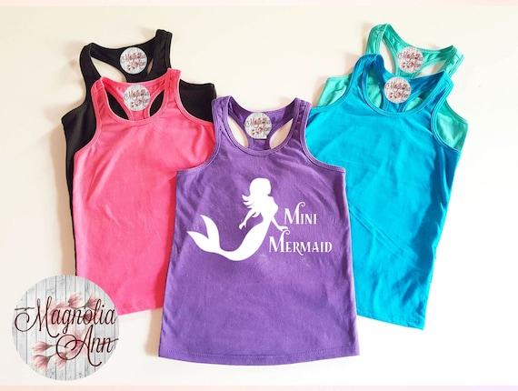 Mini Mermaid Little Girls Racerback Tank Top, Toddler Tank Top, Baby Tank Top, Mermaid Shirt, Mermaid Girls Tank, Infant Mermaid Tank, Baby