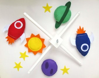 Felt Baby Crib Mobile Pattern. Space Mobile DIY Sewing Pattern PDF. Instant instructions to make rocket and planets mobile.