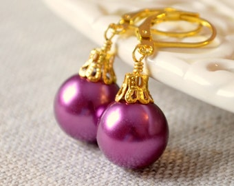 Plum Christmas Earrings, Gold Plated, Large Glass Pearl, Bright Color, Leverback Earwires, Fun Holiday Jewelry
