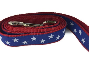 Dog Leash, Blue Stars, 1 inch wide, 1 foot, 4 foot, or 6 foot