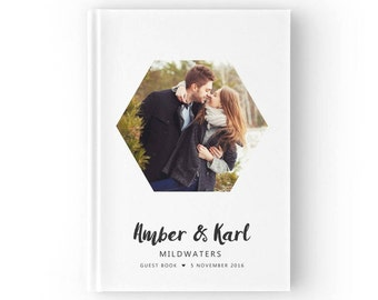 Photo Guest Book, Geometric Wedding Guest Book, Engagement Photo Guestbook, Personalised Wedding Guest Book, Color Choices Available, GB084