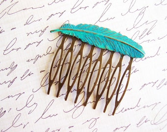 Turqoise Patina Feather Hair Comb, Teal Blue Feather Hair Accessory, Nature Inspired Antique Bronze Bird Hair Comb
