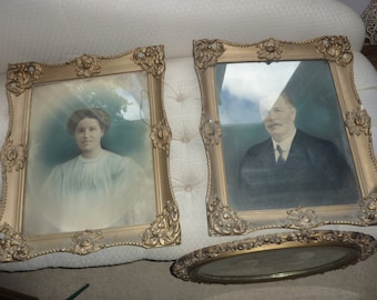Pair of Antique Gesso 16 by 20 Frames with Photographs