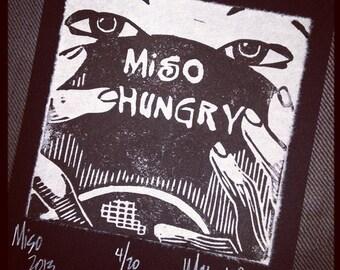 Miso Hungry, 1 color linocut on Korean Hanji