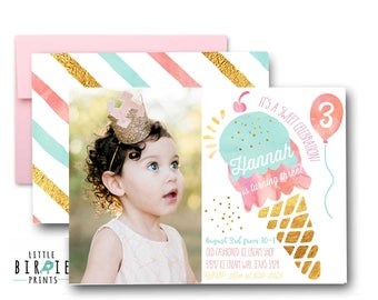 ICE CREAM INVITATION Ice cream birthday invitation Ice cream party invitation Watercolor ice cream invitation Girl ice cream birthday