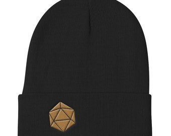 Gold D20 Dice Dungeons and Dragons embroidered Knit Beanie