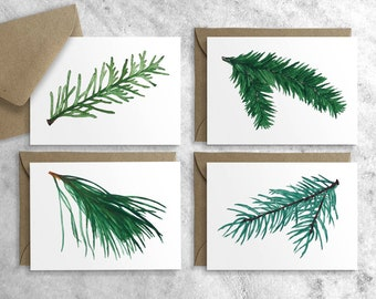 Evergreen Enclosure Cards, Set of 12, Boxed Christmas Cards, Gift Tags