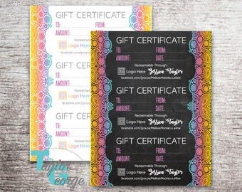 Printable Gift Certificate Template - Custom Gift Certificates - Chalkboard Paisley Gift Certificate - Shabby Chic Gift Certificate Business