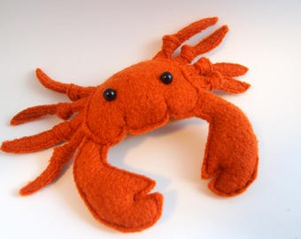 toy crab, stuffed toy, stuffed animal, waldorf toy, waldorf crab, stuffed crab,