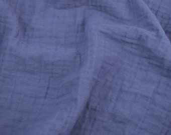 5 yards Midnight Blue - Sunny Saloo - 100% cotton fabric from Thailand - double gauze or muslin fabric with no grid lines