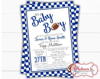 Blue & White Football Baby Shower Invitation | Sports Baby Shower Invitation | Football | College Football | Kentucky | Wildcats | Printable