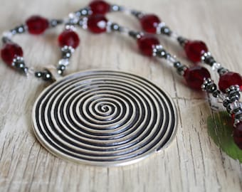 Spiral Pendant Necklace and Earring Set with Garnet Glass and Hematite / Big Necklace / Spiral Pendant / Gifts for Her / Gifts for Women
