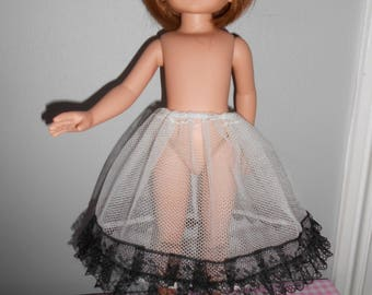 """Doll clothes for Little Darling of Dianna Effner or Betsy McCall - Thunder - 33 cm 14 """"- underskirt in tulle Black Lace"""