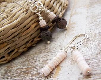Seashell and Lava Rock Earrings, Dangle Earrings, Silver and Shell Earrings, Small Earrings, Pink Shell Earrings