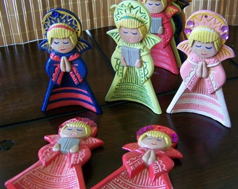 """Vintage 80's """"HAND PAiNTED ANGEL ORNAMENTS""""or Free Standing Holiday Figurines Lot of 12"""