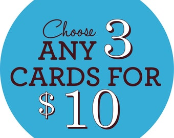 Choose Any 3 Cards! - Greeting Card Set, Funny Greeting Cards, Birthday Cards, Bulk Cards, Special Occasions, Card Sets, Pack of Cards