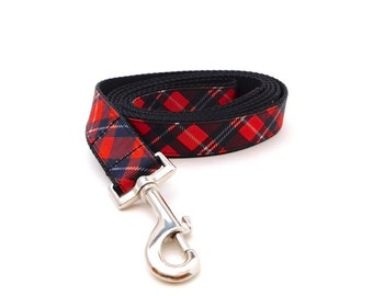 Red Plaid Print Dog Leash available in a Buffalo Plaid and Traditional Plaid Print,
