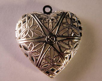 1 pendant charm holder picture-silver heart - 25 mm B015