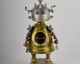 1950 Revere reel to reel tape recorder parts were the inspiration for this amazing sculpture.Retro/recording studio decor/ assemblage robot