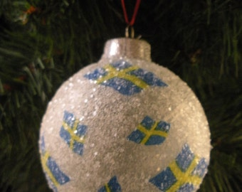 Swedish Flags glass glitter ornament