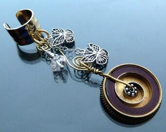Spring Flight Steampunk Ear Cuff butterflies gold n silver pink morganite antique watch parts butterfly jewelry