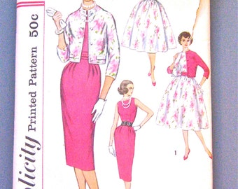 Vintage 1950s Simplicity 2407 Dress Pattern  Bust 31.5 inches
