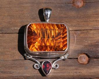 Large Concave Cut Citrine & Garnet Pendant, Bezel Set Solid Sterling Silver, Semi Precious Gemstone Jewelry, Yellow Citrine Quartz DYC-10