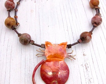 Copper Cat Necklace African Jasper Necklace Memory Wire Adjustable Beaded Necklace Orange River Jasper Necklace by SusanHeleneDesigns