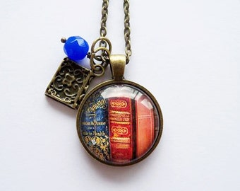 Library Book Necklace - Gift For Writer - Librarian Pendant - Bibliophile Jewelry - Book Lover Necklace - Literary Jewelry (4)