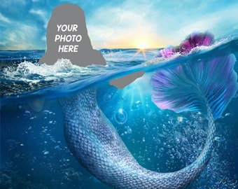 Mermaid Custom Portrait from Photo, send me your photo & become a Mermaid in this personalized mermaid photography art, digital or print