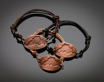 Lake Superior Copper Bracelet on adjustable Leather band