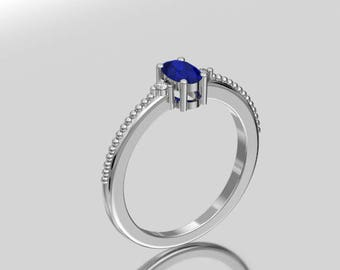 14KT White Gold  Oval 6X4 MM Natural Sapphire Ring With Accent Diamonds And Milgrain