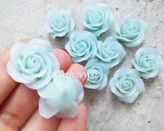 1 pcs. blue ice quartz rose polymer clay flowers, tiffany blue roses, polymer clay flower bead