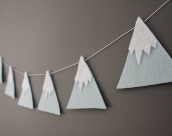 Felt Mountain Snowy Peaks Garland, Blue, He'll Move Mountains, Baby Nursery, Childrens Decor, Baby Shower, New Baby, 1st Birthday, Party