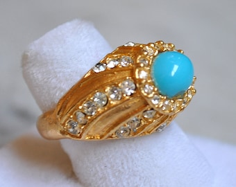 Faux Turquoise & Rhinestone Cocktail Ring