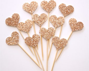 12 Rose Gold Glitter mini heart cupcake toppers