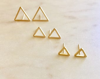 Triangle Stud Earrings Minimalist Earrings Triangle Earrings Tiny Stud Earrings Gold Earrings Birthday Gift for Her Silver Earrings Silver