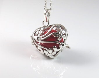 Large size heart Harmony ball,Mexican bola pendant,heart harmony ball,angel callerl,Silver heart 3D pendant,pregnancy gift,chime bell