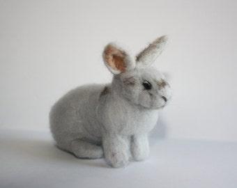 light grey bunny needle felted